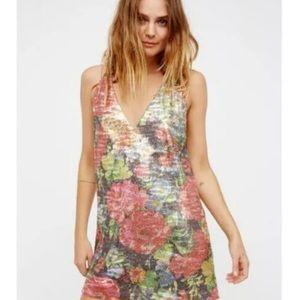 New Gorgeous Free People Floral Sequin Mini Dress